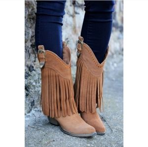 VERY VOLATILE Anderson Fringe Western Boots